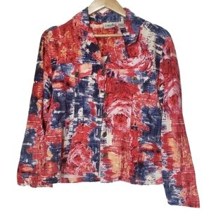 Chicos abstract rose button down long sleeve shirt